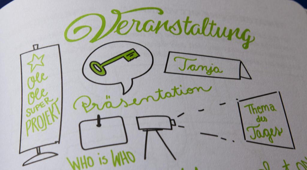 Roll-ups, Projektoren und Namensschilder begegnen Gästen bei Veranstaltungen ebenso wie Präsentationen und eine Keynote.